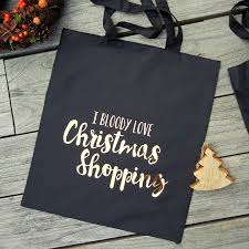 christmas shopping bags bloody christmas shopping tote bag by the alphabet gift shop