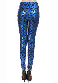 royalblue fish scale pattern high waist leggings l10261