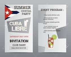 summer cocktail party flyer layout template with cuba flag and