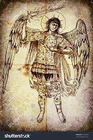 second image series angels archangel uriel stock illustration