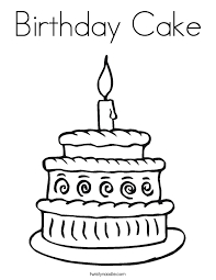 Birthday Cake Coloring Page Twisty Noodle Birthday Cake Coloring Pages