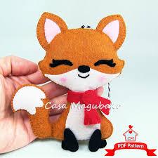 fox ornament felt pattern woodland fox diy felt fox