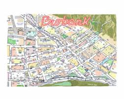map of burbank ca custom maps archival prints 15 code by tomlambmaps on etsy