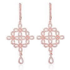 Rose Gold Chandelier Earrings Ingenious Rose Gold Chandelier Earrings With Open Flowers