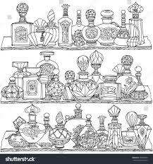 design coloring book black white fantasy vintage perfumes pattern stock vector