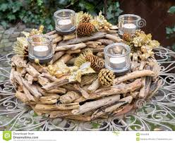 christmas centerpiece on outdoor irony table stock photo image