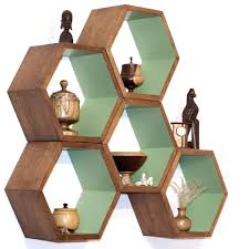 custom made modern shelving hexagon arrangements by
