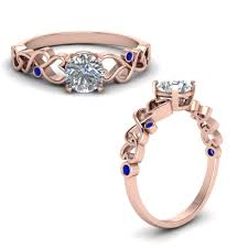 intertwined wedding rings intertwined filigree cut engagement ring with sapphire in