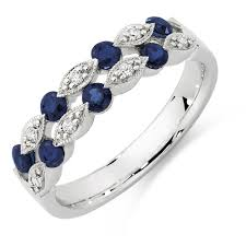 sapphires rings images Ring with sapphire diamonds in 10kt white gold jpg