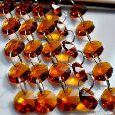 5mcrystal octagon beads garland strands brown 14mm octagonal glass