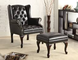 Black Leather Armless Chair Black Leather Tufted Accent Chair With Ottoman Set With Chairs Atme