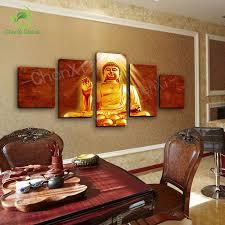 5 panel golden buddha canvas painting cuadros buda oil style