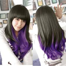 purple weave curly wave hair full long wigs no lace front japanese