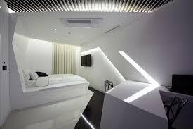 split level plush futuristic retro bedroom in white and patent