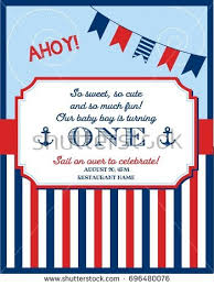 nautical sailor theme printable first birthday stock vector