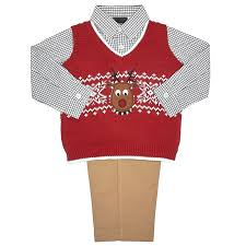 baby boys reindeer sweater vest button shirt and set