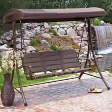 dark gray steel patio swing with semi a shape legs combined with