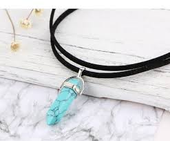 turquoise stone pendant necklace images Boho natural crystal stone pendant necklace the yoga mandala store jpg