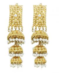 new jhumka earrings golden multi layered jhumka earrings new arrivals