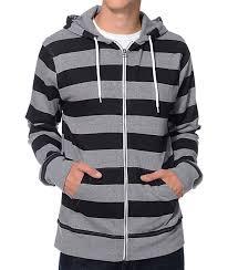 zine busted grey u0026 black stripe zip up hoodie zumiez