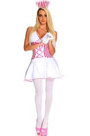 Halloween Costumes Nurse Pink White Candy Stripe 2 Pc Nurse Costume