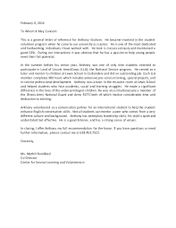 recommendation letter for a student volunteer cover cover letter