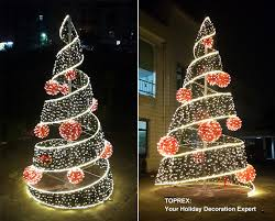 warm white outdoor decoration led spiral ribbon tree