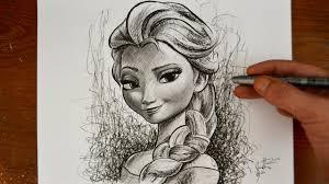 drawing elsa frozen disney princess snow queen