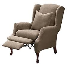 sure fit slipcovers wing chair amazon com sure fit stretch pique reclining wing chair slipcover