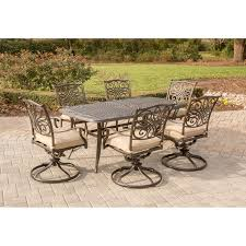 Patio Dining Set With Bench - traditions 7 piece dining set with six swivel dining chairs and a