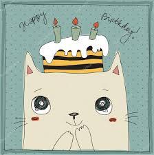 cute cat happy birthday card u2014 stock vector dikaya 26081587