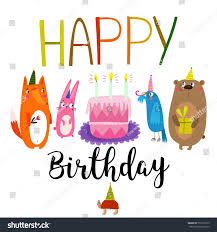 vector happy birthday card cute rabbit stock vector 553162375