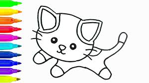 baby cat drawing and coloring for kids how to draw animals learn
