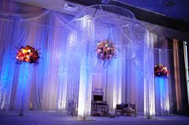full crystal mandap design with floating flower centerpiece my