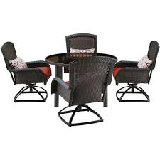 Patio Dining Sets For 4 by Hanover Strathmere 5 Piece All Weather Wicker Round Patio Dining