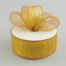 metallic gold ribbon 2 5 poly deco mesh ribbon metallic gold brown rs200463