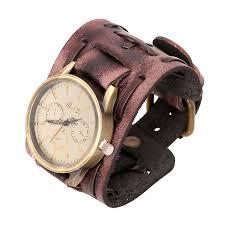 bracelet handmade leather images Retro punk fashion men 39 s retro leather bracelet watch handmade jpg