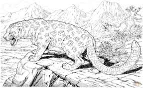 leopard roars on hills coloring page free printable coloring pages