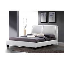sabrina white modern bed with overstuffed headboard full size
