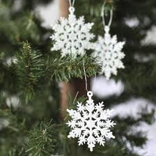 small white glitter snowflake ornaments miniatures