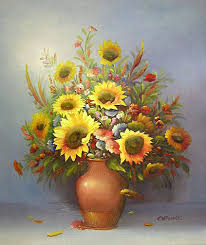 Vase Of Sunflowers Yessy U003e A Art U003e Original Oil Paintings U003e Sunflowers In Vase By C