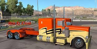 kenworth peterbilt peterbilt 389 orange skin mod american truck simulator mod ats mod