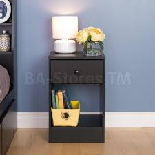 bedroom black narrow nightstand with single drawer and shelf for