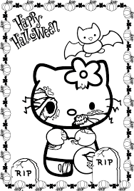 Printable Scary Halloween Coloring Pages by Hello Kitty Zombie Halloween Coloring Pages Contegri Com
