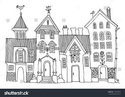 cartoon hand drawing houses stock vector 124736542 shutterstock
