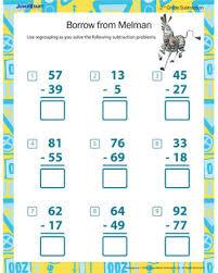 borrow from melman u2013 printable 2nd grade math worksheet u2013 jumpstart