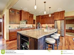 luxury kitchen with bar style island stock image image 57714739