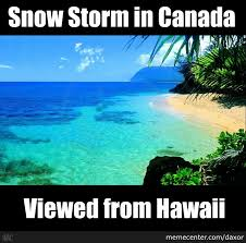 Snowstorm Meme - point of view canada snow storm from hawaii by daxor meme center