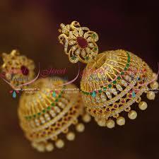 kerala style jhumka earrings j9074 big broad ruby emerald diamond finish floral style