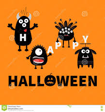 black monsters holding letters happy halloween text with pumpkin